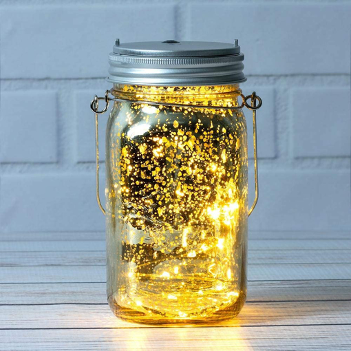 Picture of Fantado Wide Mouth Gold Mercury Glass Mason Jar w/ Hanging Warm White LED Fairy Light Kit (Battery Powered)