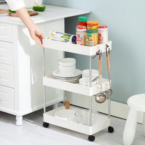 Picture of SPACEKEEPER 3 Tier Slim Storage Cart Mobile Shelving Unit Organizer Slide Out Storage Rolling Utility Cart Tower Rack for Kitchen Bathroom Laundry Narrow Places, Plastic & Stainless Steel, White