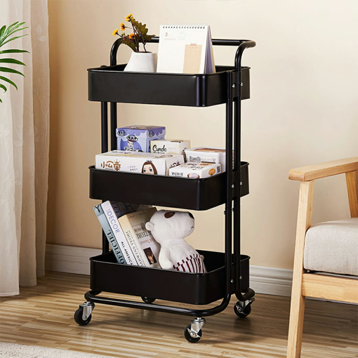 Picture of 3-Tier Metal Storage Rolling Cart with Utility Handle, Rustproof Kitchen Carts On Wheels, 360-Degree Rotation Trolley Cart, Shelving Unit for Garage Kitchen Bathroom Bedroom Office, Black, Q3630