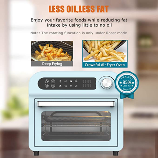 Picture of Convection Toaster Oven Air fryer Combo 8-in-1 Countertop Conventional Electric Touchscreen Digital Stainless Steel Compact Baking Roasters With Rotisserie Dehydrator Recipe Included Small Appliances with LED Display for Kitchen Home 11 QT Small Capacity (Teal)