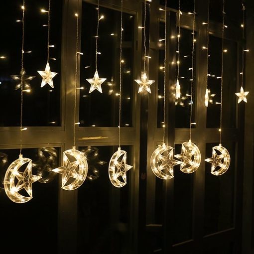 Picture of  Moon Star Icicle Led Curtain Fairy String Light