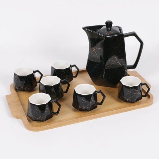 Picture of tea pot set black 8 pcs