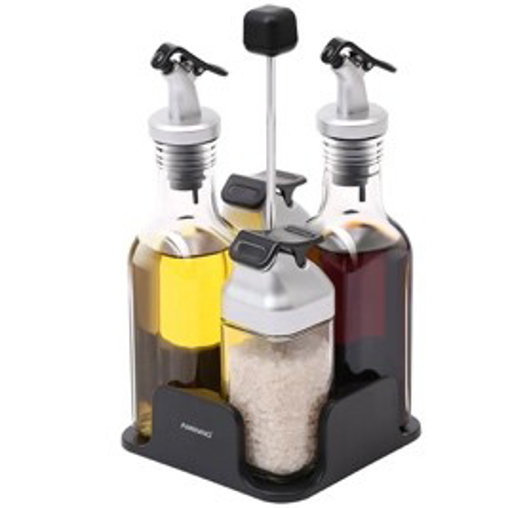 Picture of Silver - oil & vinegar salt & pepper dispenser Silver set