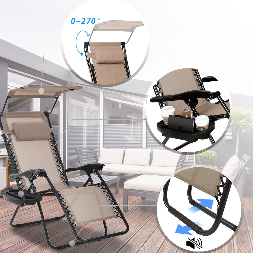 Picture of Zero Gravity Chair Lounge Patio Chairs with canopy Cup Holder