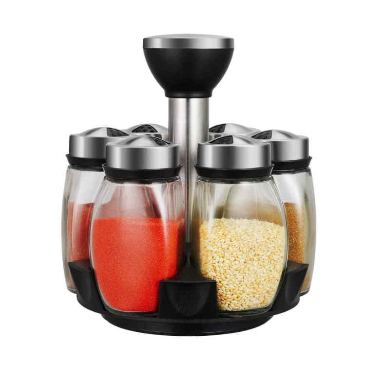 Picture of Cruet Set Seasoning Container Sauce Jar Condiments Salt Jar Revolving Spice Rack